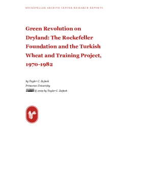 Green Revolution on Dryland: The Rockefeller Foundation and the Turkish Wheat and Training Project, 1970-1982
