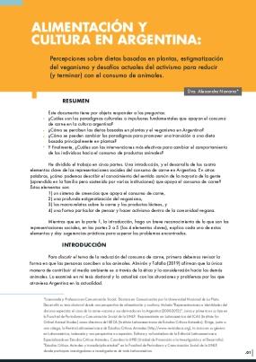 Alimentación y Cultura en Argentina: Percepciones sobre dietas basadas en plantas, estigmatización del veganismo y desafíos actuales del activismo para reducir (y terminar) con el consumo de animales.